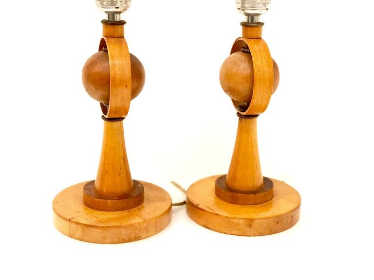 Scandinavian Modern Danish Modern Petite Pair of Atomic Table Lamps For Sale