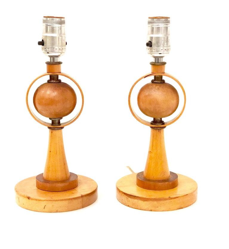 Swedish Danish Modern Petite Pair of Atomic Table Lamps For Sale