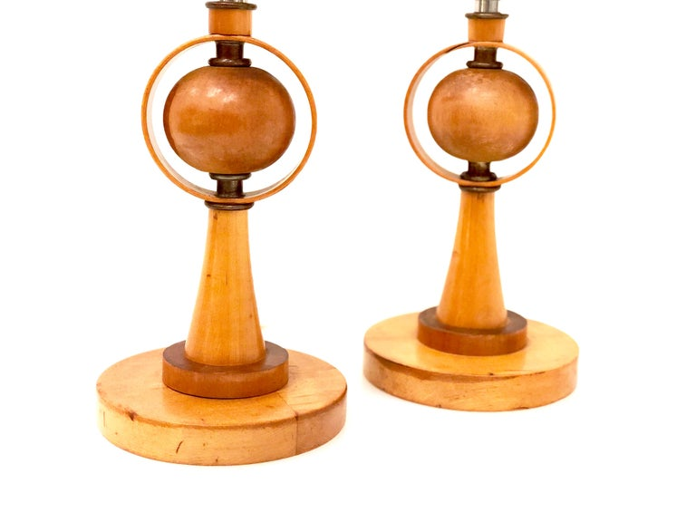 Danish Modern Petite Pair of Atomic Table Lamps In Good Condition For Sale In San Diego, CA