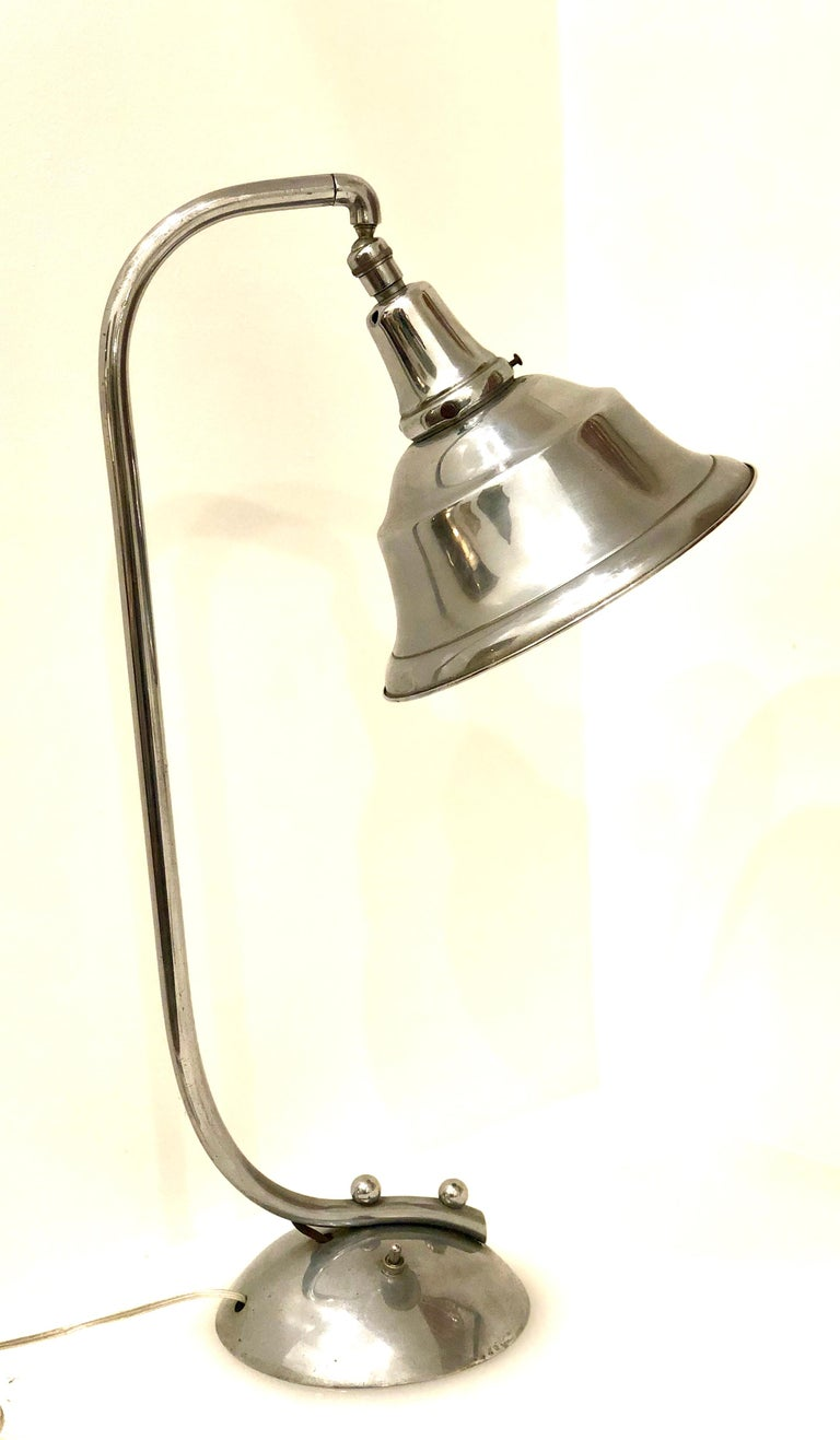 American Art Deco Chrome Bell Shade Desk Lamp For Sale