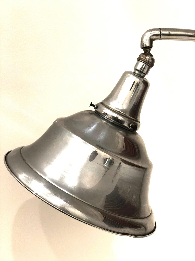 Art Deco Chrome Bell Shade Desk Lamp In Good Condition For Sale In San Diego, CA