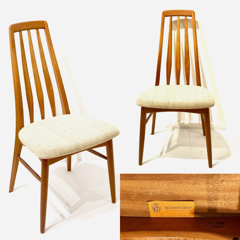20th Century Single Solid Teak Danish Modern Niels Koefoed Desk Eva Chair For Sale