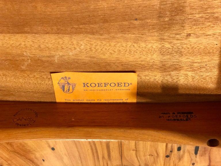Single Solid Teak Danish Modern Niels Koefoed Desk Eva Chair For Sale 1