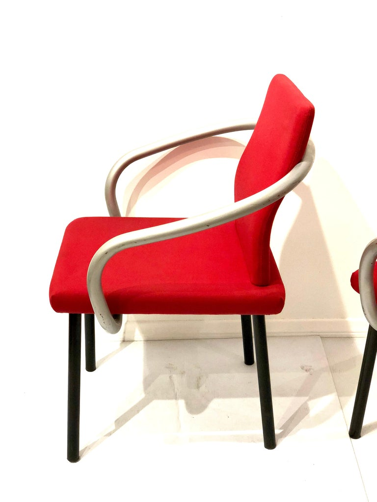 Italian Set of Four Armchairs by Ettore Sottsass for Knoll Memphis Era For Sale