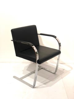 Set of 6 Classic Brno Style Chairs in Black Leather & Polished Stainless Steel