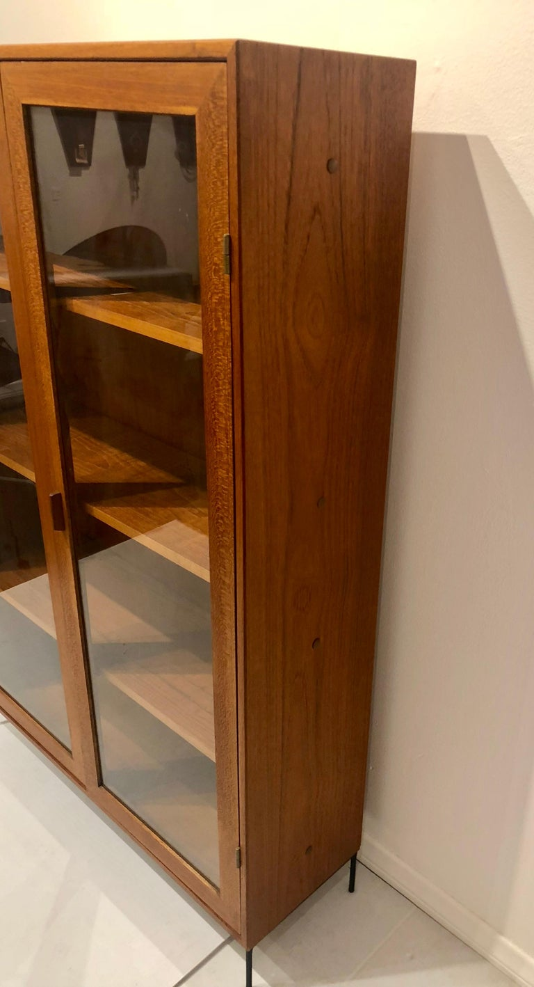 Danish Modern Teak Glass Bookcase by Dyrlund on Solid Iron Base For Sale 3