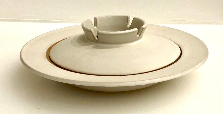 Japanese Midcentury Nelson Stoneware Large Ceramic Ashtray For Sale