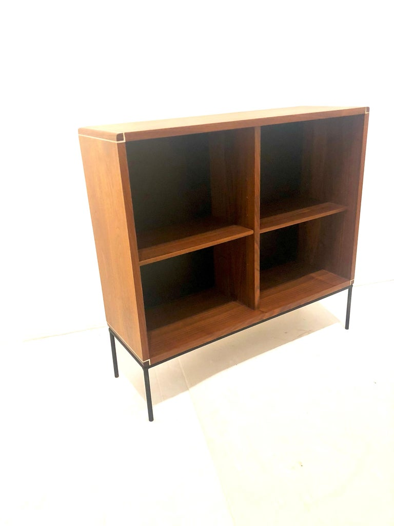 North American American Mid-Century Modern Walnut and Iron Bookcase For Sale