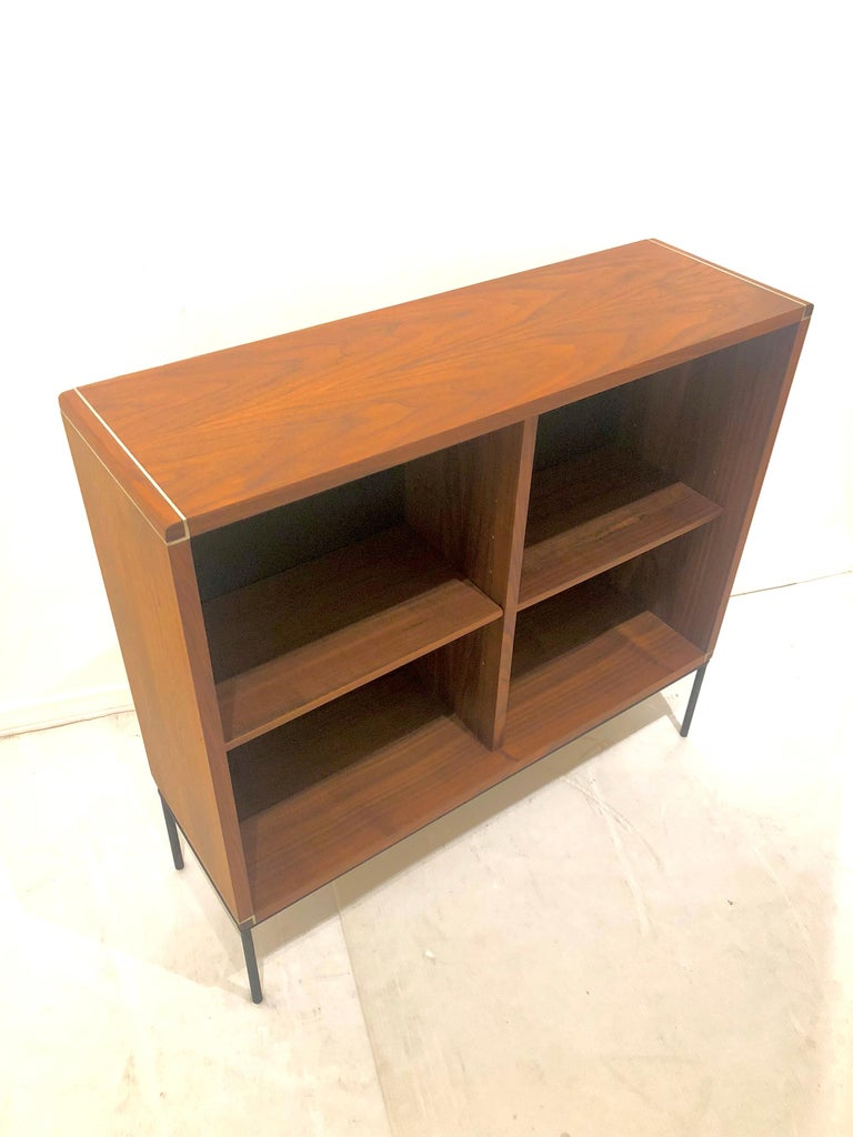 American Mid-Century Modern Walnut and Iron Bookcase In Good Condition For Sale In San Diego, CA