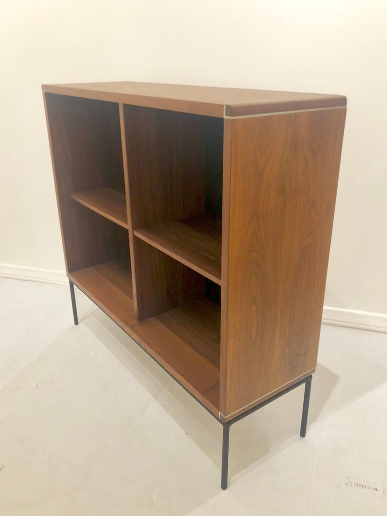 20th Century American Mid-Century Modern Walnut and Iron Bookcase For Sale