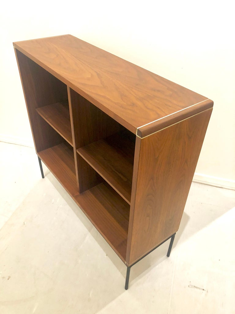 American Mid-Century Modern Walnut and Iron Bookcase For Sale 1