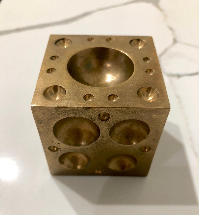 Mid-Century Modern Solid Brass Cube Dice Sculpture Paper Weight For Sale