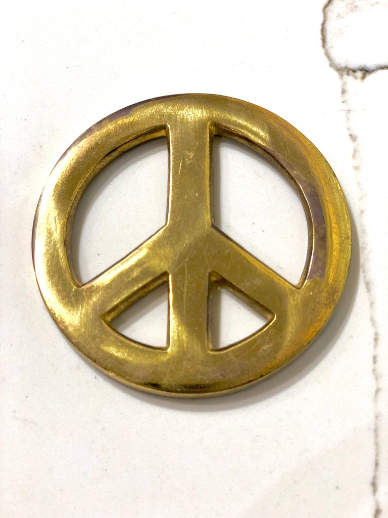 Mid-Century Modern Patinated Solid Brass Vintage Peace Sign For Sale