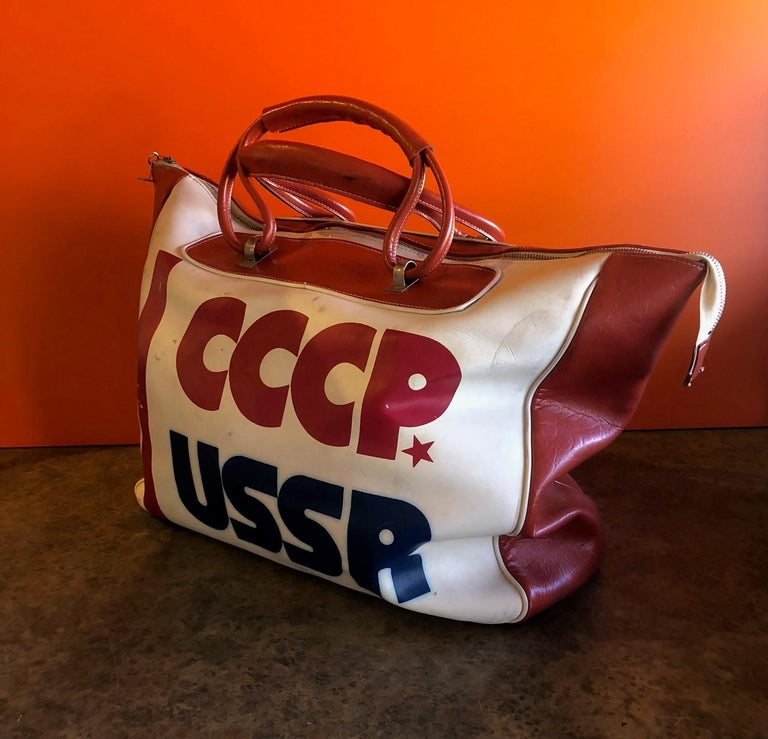 Naugahyde Authentic CCCP USSR Olympic Sports Bag For Sale