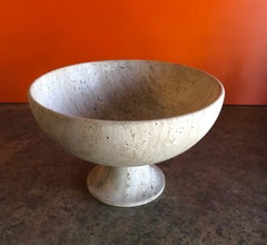 Mid-Century Travertine Pedestal Fruit Bowl