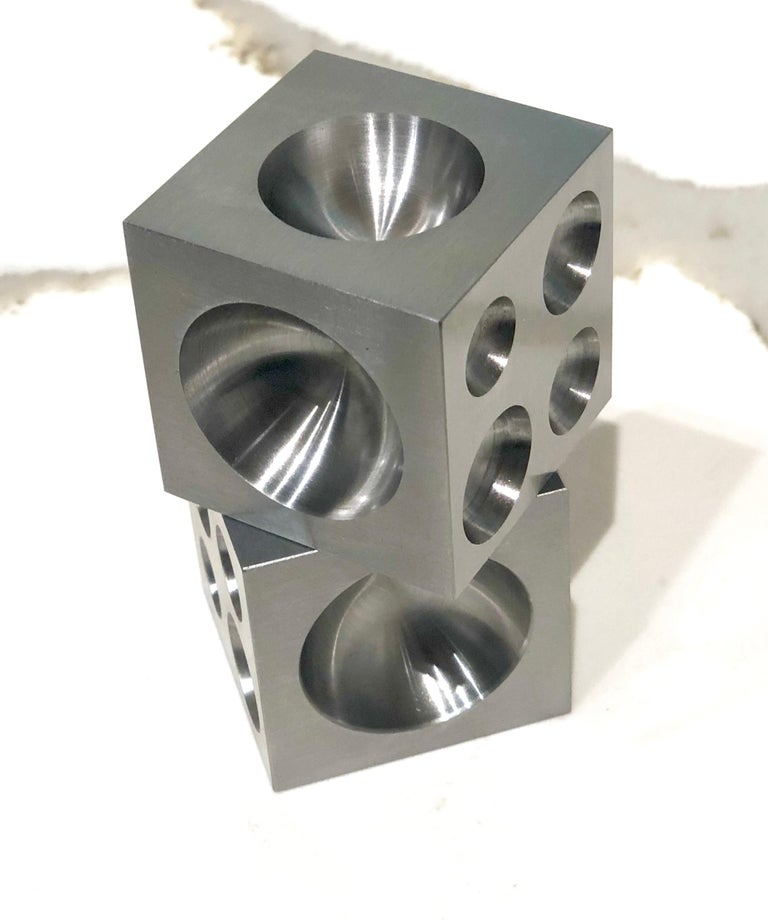 American Pair of Decorative Solid Steel Dice Cubes Paperweight For Sale