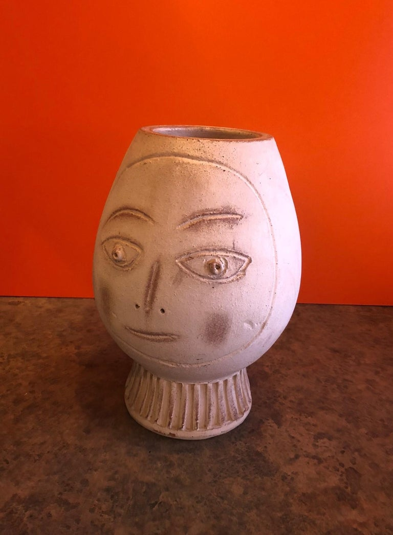 Mid-Century Modern Figural Pottery Vase in the Style of Pablo Picasso For Sale