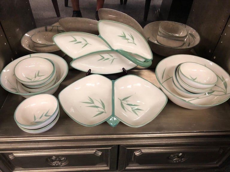 American Collection of Winfield California Green Bamboo Dinnerware For Sale