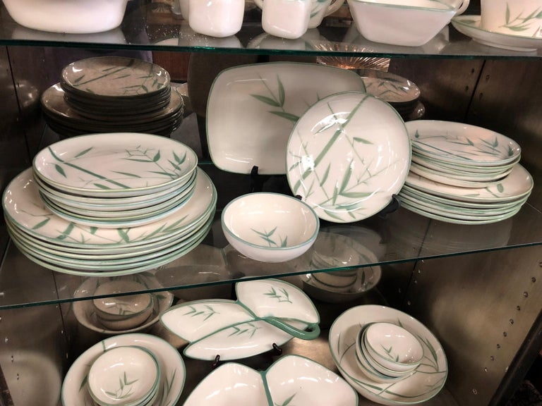Collection of Winfield California Green Bamboo Dinnerware In Good Condition For Sale In San Diego, CA