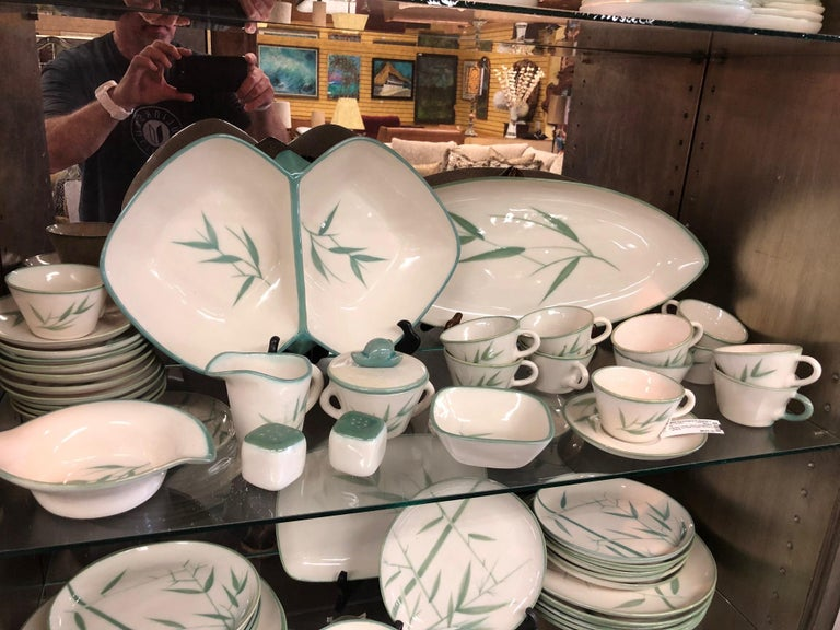 20th Century Collection of Winfield California Green Bamboo Dinnerware For Sale