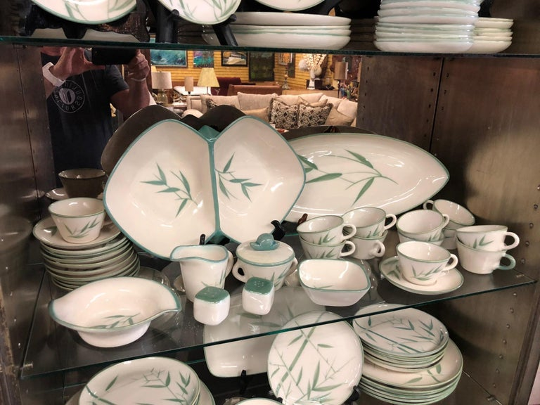 Collection of Winfield California Green Bamboo Dinnerware For Sale 2