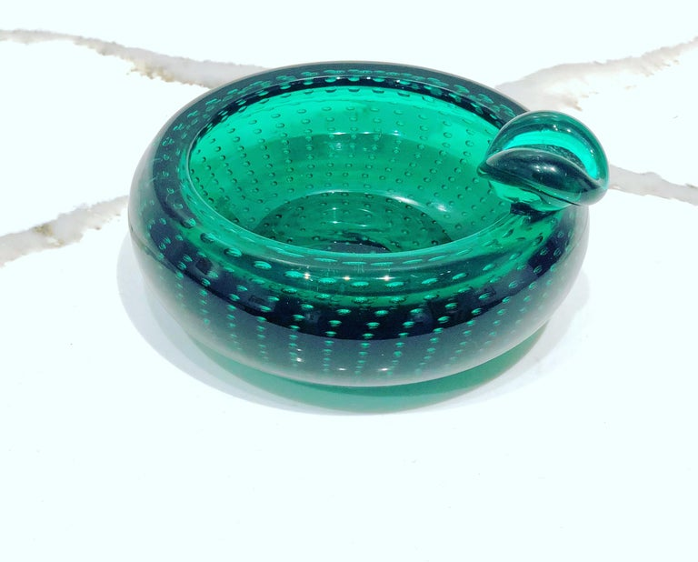 20th Century Striking Italian Muran Thick Mouth Blown Glass Centrepiece Bowl/Ashtray For Sale