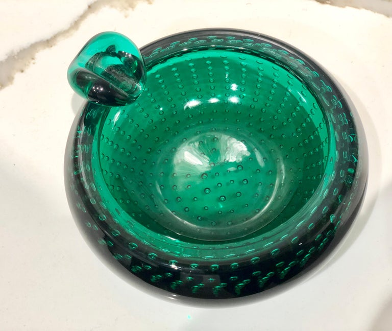 Striking Italian Muran Thick Mouth Blown Glass Centrepiece Bowl/Ashtray For Sale 1