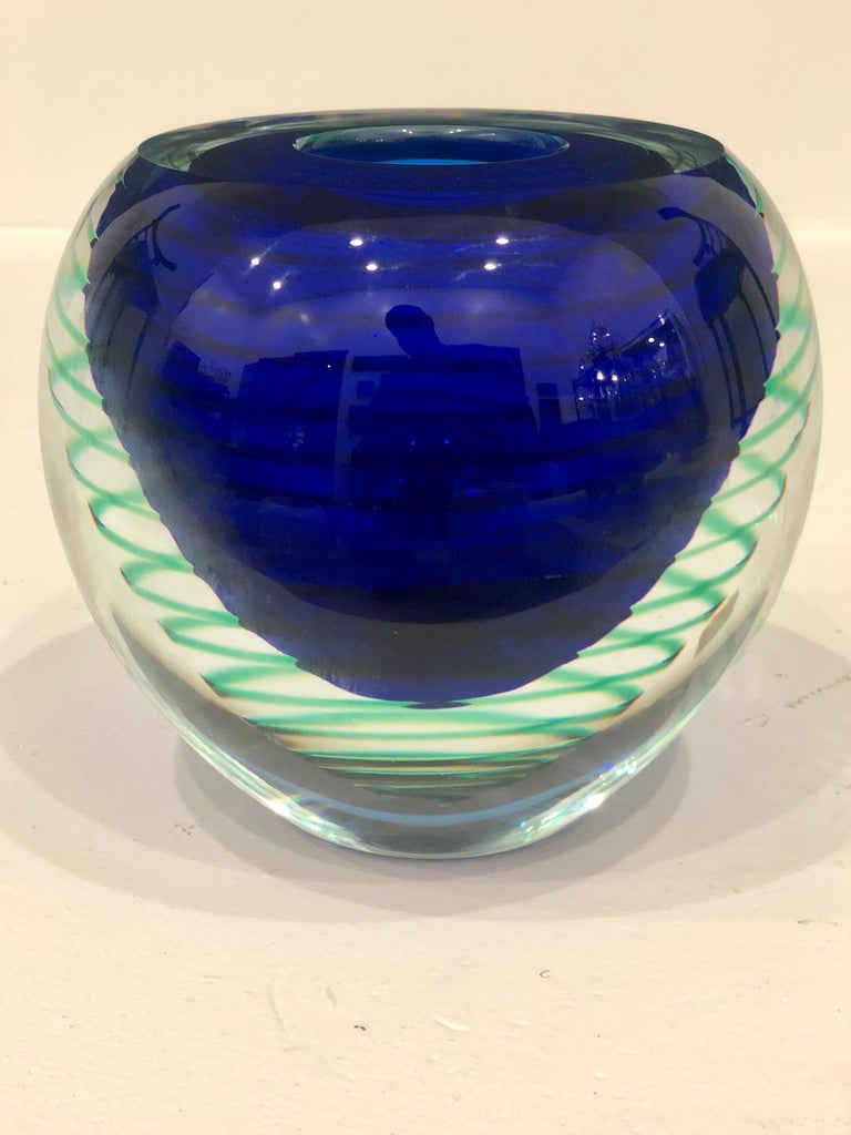 Blown Glass 1950s Italian Flavio Poli Seguso Murano Sommerso Organic Glass Vase For Sale