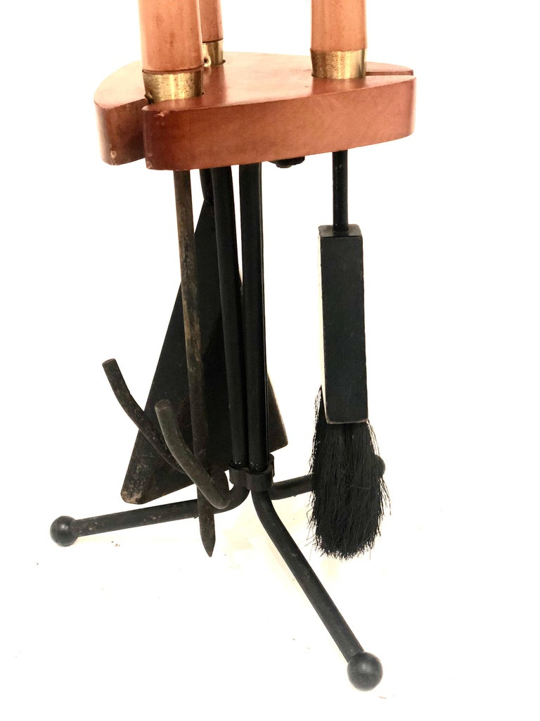Mid-Century Modern 1950s Atomic Age Wood and Iron Fireplace Accessory Tool Set For Sale