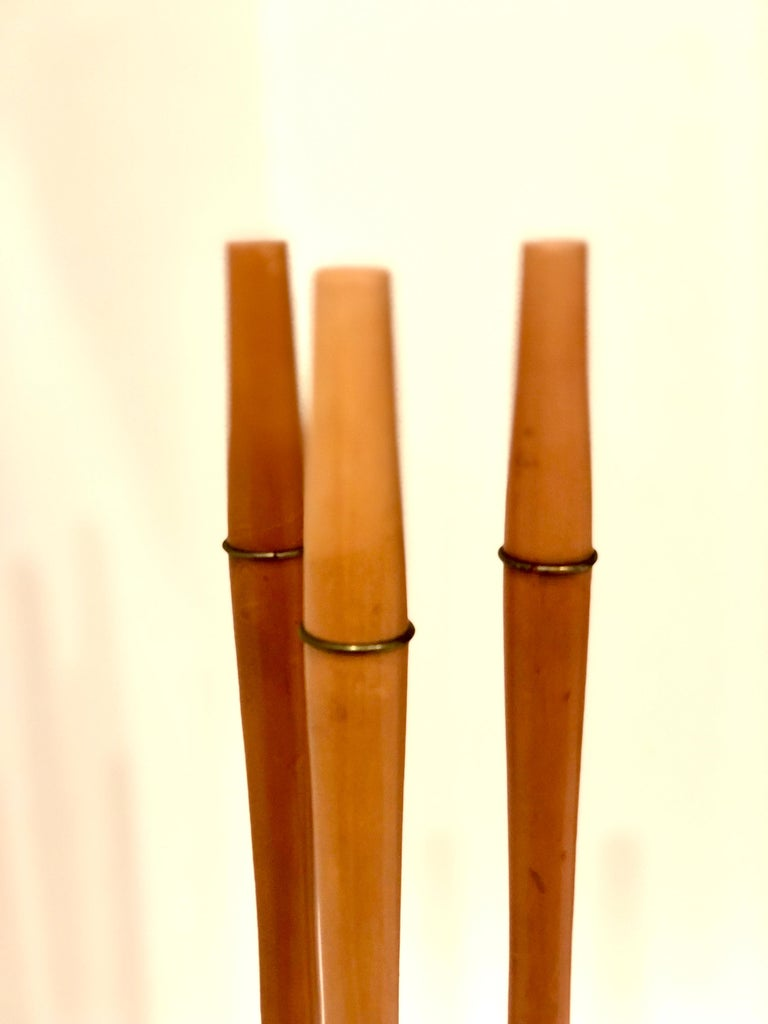 20th Century 1950s Atomic Age Wood and Iron Fireplace Accessory Tool Set For Sale