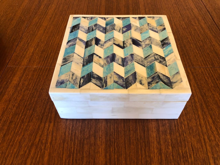 American Geometric Tessellated Stone Square Box For Sale