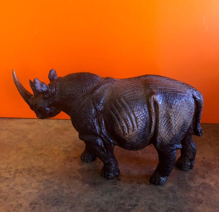 African Hand-Carved White Rhino / Rhinoceros Signed Sculpture For Sale