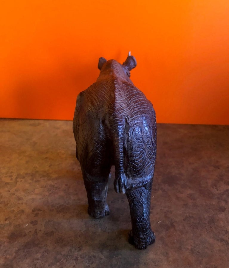 Hand-Carved White Rhino / Rhinoceros Signed Sculpture In Excellent Condition For Sale In San Diego, CA