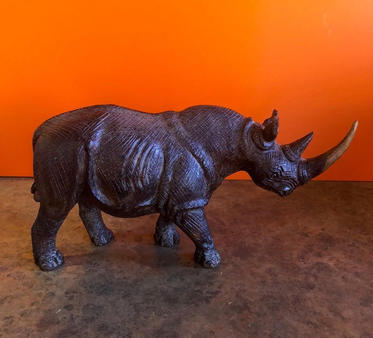 20th Century Hand-Carved White Rhino / Rhinoceros Signed Sculpture For Sale
