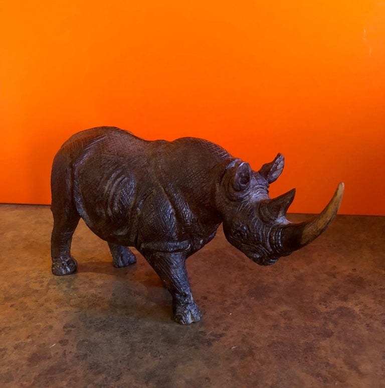 Hardwood Hand-Carved White Rhino / Rhinoceros Signed Sculpture For Sale