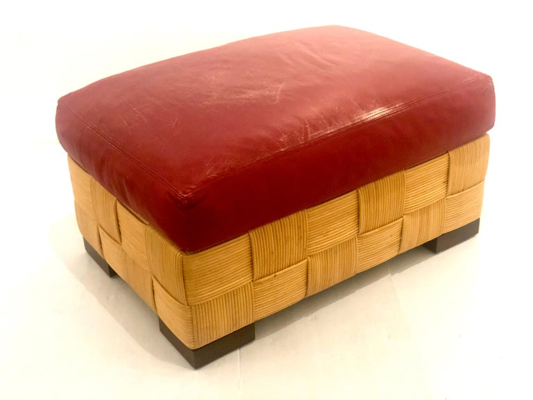 John Hutton for Donghia Pair of Wicker Ottomans in Red Leather In Good Condition For Sale In San Diego, CA