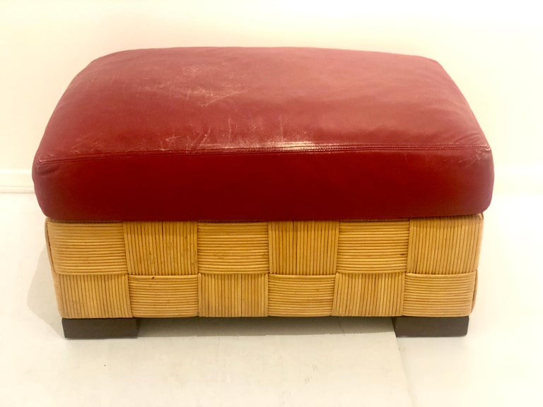 20th Century John Hutton for Donghia Pair of Wicker Ottomans in Red Leather For Sale