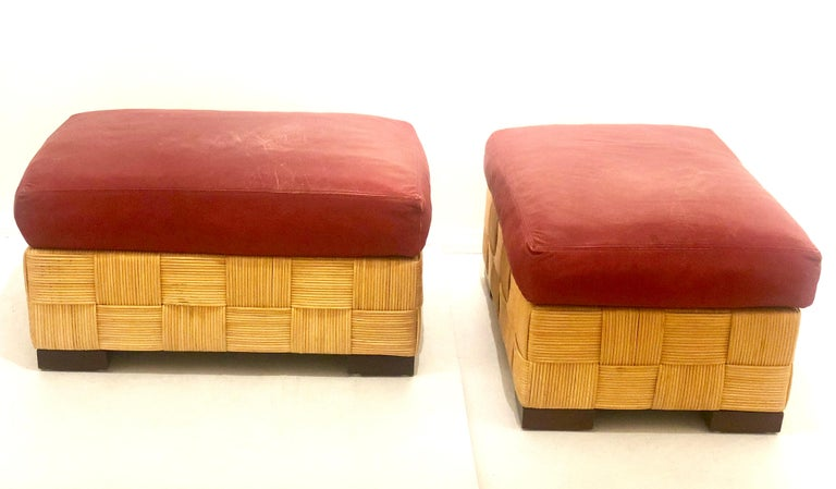 John Hutton for Donghia Pair of Wicker Ottomans in Red Leather For Sale 1