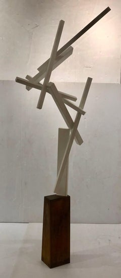 Striking Tall Contemporary Steel Sculpture By Joey Vaiasuso California Design