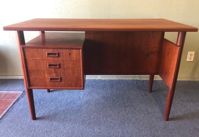 Mid-Century Modern Danish Modern Three-Drawer Floating Top Teak Desk For Sale