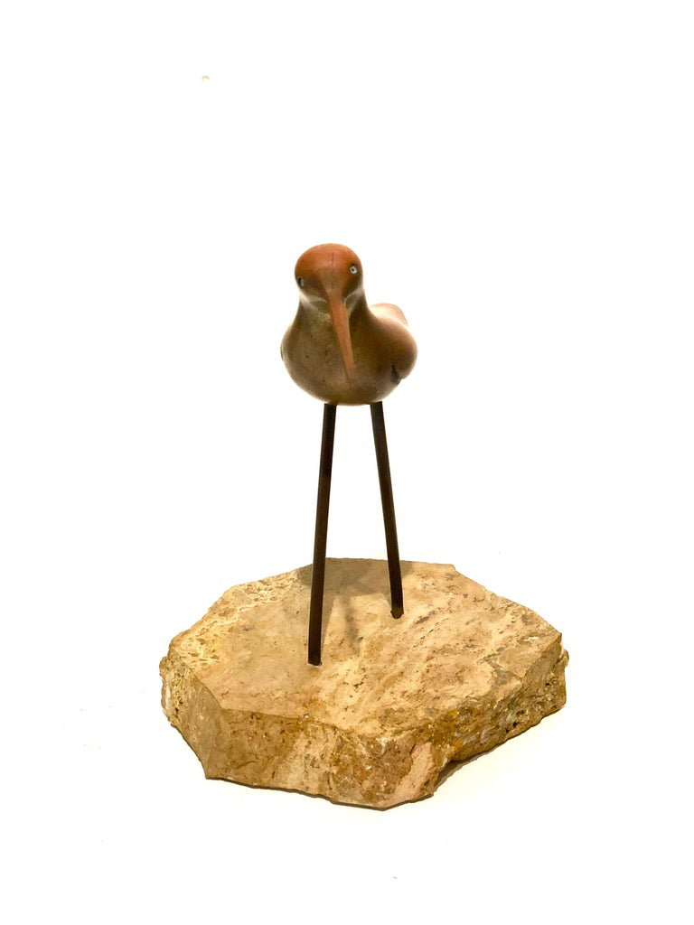 Mid-Century Modern Petite Solid Patinated Brass Bird Sculpture on Marble Base For Sale