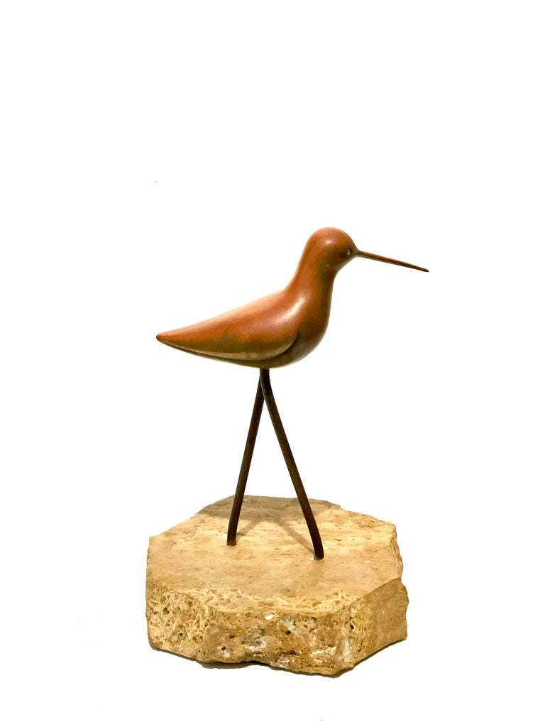 American Petite Solid Patinated Brass Bird Sculpture on Marble Base For Sale