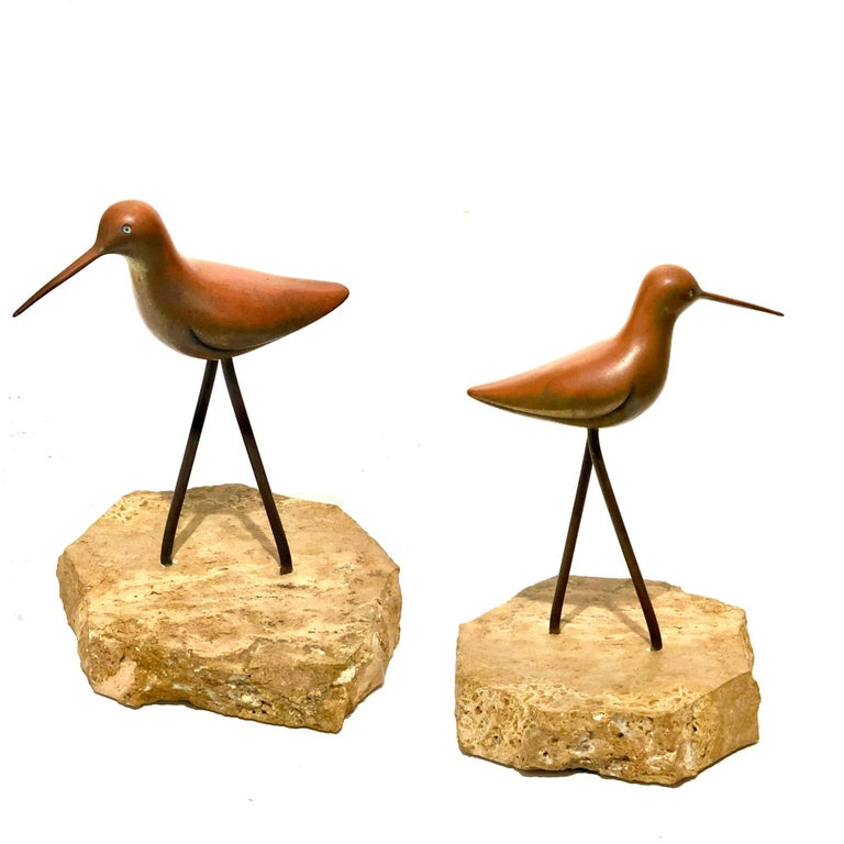 20th Century Petite Solid Patinated Brass Bird Sculpture on Marble Base For Sale