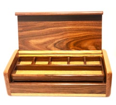 Elegant Handcrafted Walnut Jewelry Box Post Modern