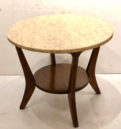 Mid Century Walnut & Marble Round Cocktail table Atomic Age