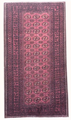 Tribal Baluchi All Over Red Black 1960 Circa Persian Rug