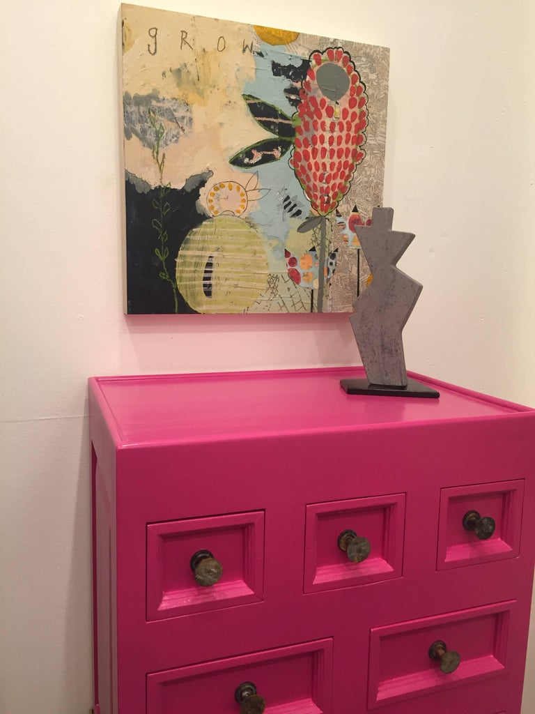 1970s Pink Lacquered Cabinet For Sale 1