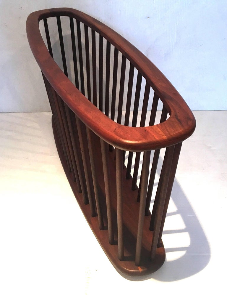 Mid-Century Modern Midcentury Solid Walnut X Large Magazine Rack by Arthur Umanoff For Sale