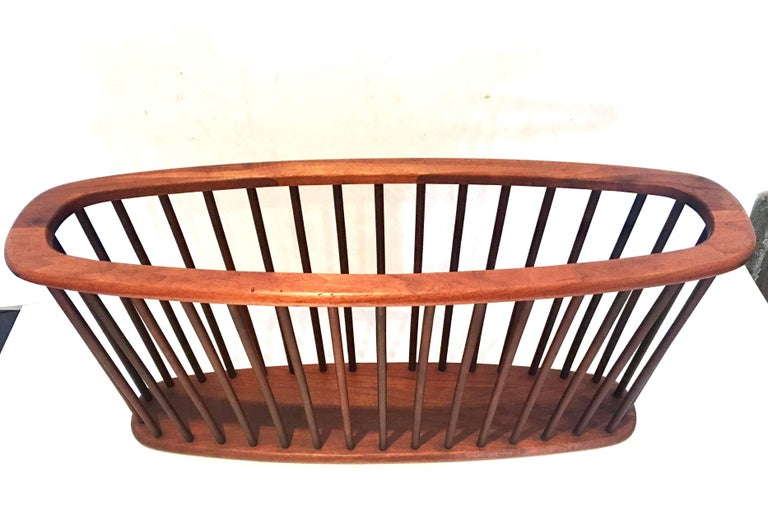 American Midcentury Solid Walnut X Large Magazine Rack by Arthur Umanoff For Sale