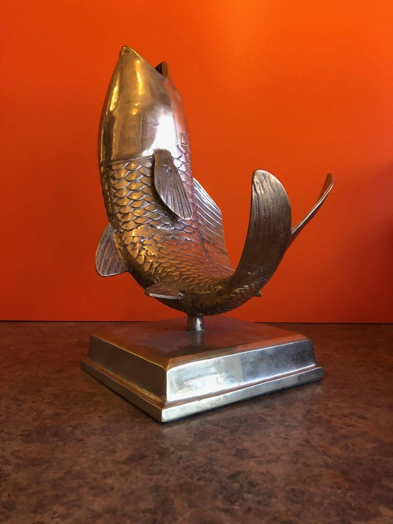 Solid Brass Koi Fish on Base Sculpture or Vase For Sale 2